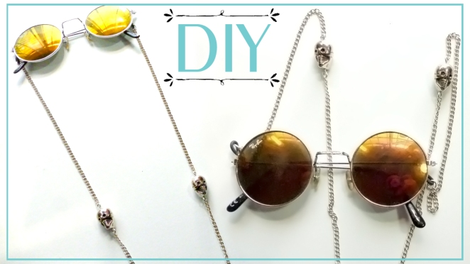 DIY sunglass chain strap with skulls