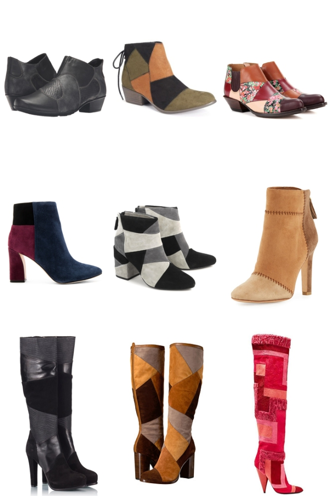 patchwork trend, boos, anke boots, colorful, inspiration, fashion, fall