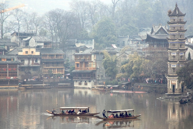 china, fenghuang county, hunan, most beautiful village in china, town