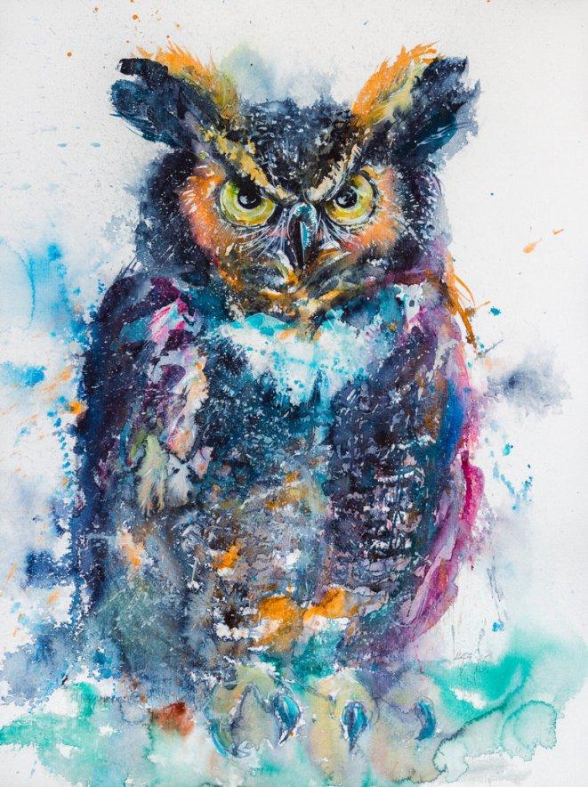 artist kovacs anna brigitta, owl, watercolor painting